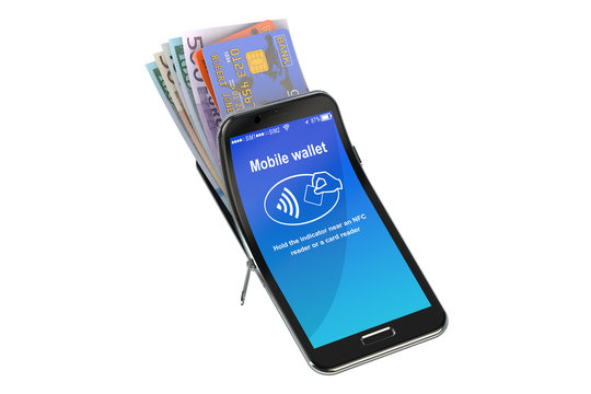 Credit Cards and Money in the mobile phone, NFC concept. 3D rend