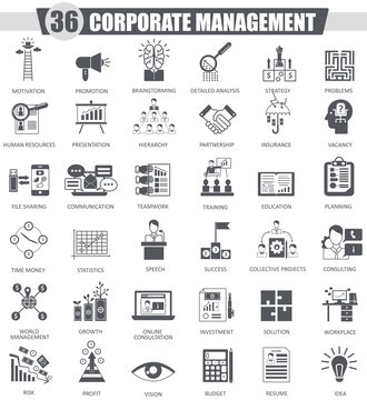 Vector Corporate managment black icon set. Dark grey classic icon design for web.