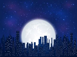 Night city on Moon background