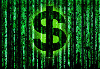 Dollar symbol with green matrix background