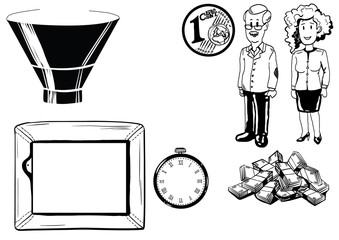 illustration of man and woman, money, tv, clock