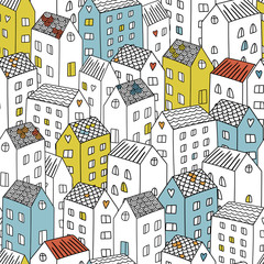Vector seamless pattern with houses. Background can be used for textile design, web page background, surface textures, wallpaper