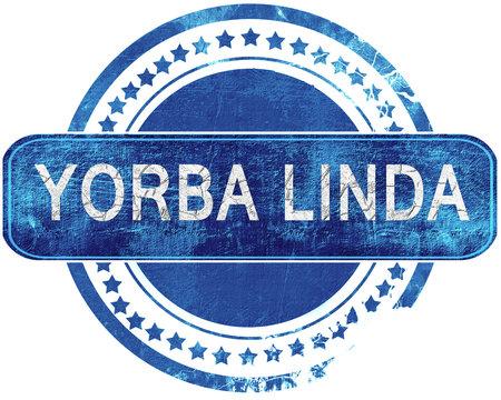 yorba linda grunge blue stamp. Isolated on white.