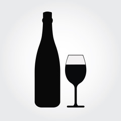 Glass of champagne and bottle icon vector