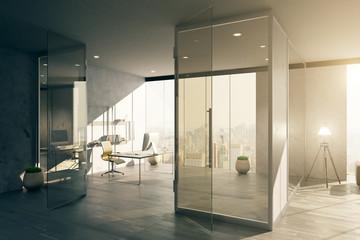 Office interior with glass door
