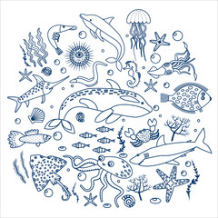 Concept Set of sea animals fish. Outline line Vector illustration.