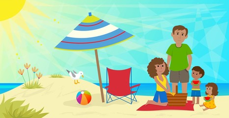 Family Picnic - A young family is having a picnic at the beach. Eps10
