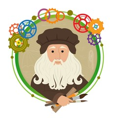 Leonardo Da Vinci Cartoon - Cute cartoon of Leonardo Da Vinci holding brushes, pencil and a ruler. With a green circled frame and colorful gears around him. Eps10