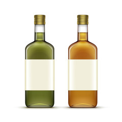 Vector Set of Alcohol Beverages Drinks Whiskey Oil Glass Bottles