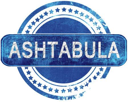 ashtabula grunge blue stamp. Isolated on white.