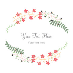 Floral Frame Collection. Set of cute retro flowers arranged un a shape of the wreath perfect for thank you card wedding invitations and birthday cards