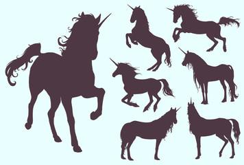 Unicorns silhouette set, magic horse collection. Hand drawn vector illustration.