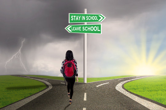 Student with guide to stay or leave school