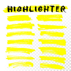 Vector highlighter brush line strokes