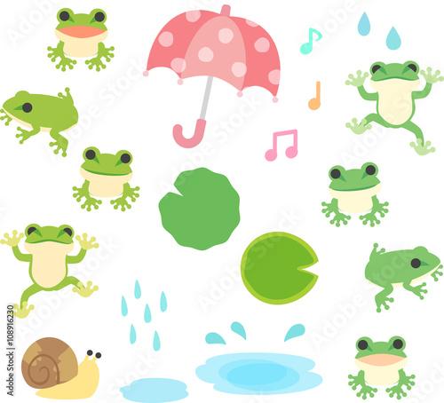 カエルと雨のイラストセットfotoliacom の ストック画像とロイヤリティ