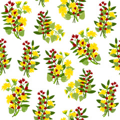 Pattern buttercups and red bellflowers