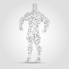 Abstract human figure from dots and lines. Hero abstract figure.