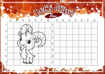 How to draw cute cartoon ibex.