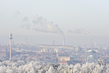 Cityscape with smoke stacks in winter