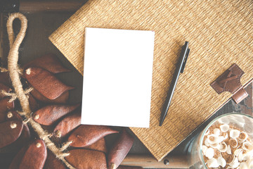 white blank paper with wickerwork background