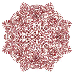 Black, red and white abstract pattern with leaves and flowers. Doodle. Hand drawn zentagles. Coloring book. Mandala.