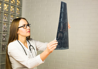 Young female doctor looking at the x-ray picture in hospital