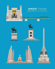 Thailand Monuments and Statues Objects Set, King Statue, Democracy and Victory Monument
