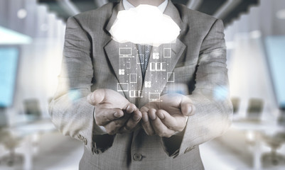 Wall Mural - Double exposure of Businessman hand working with a Cloud Computi