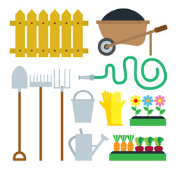 garden equipment tools set isolated on white background
