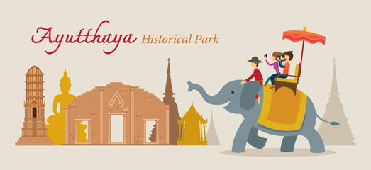 Tourist Ride Elephant, Ayutthaya, Thailand, Historical Park, World Heritage, Travel