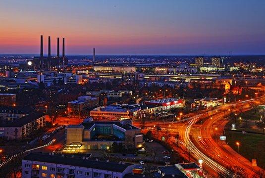 Wolfsburg sykline by night