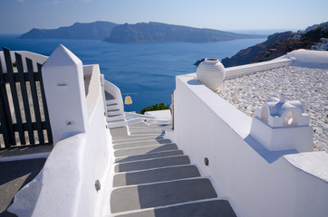 Bright stairs on Santorini island, Greece