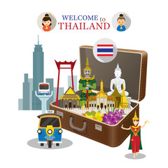 Suitcase with Thailand Landmark, Travel Attraction, Welcome and Greeting