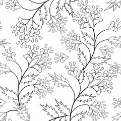 Coloring page book with decorative seamless ornamental elements black and white pattern illustration