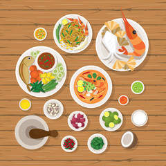 Thai Food and Ingredients Set, Traditional, Famous Menu, Wood Background