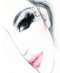Abstract fashion watercolor illustration. Beautiful woman face.