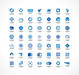 Set of icon design elements. Abstract ideas for business company. Finance, communication, eco, technology, science and medical concepts. Pictograms for corporate identity template. Vector