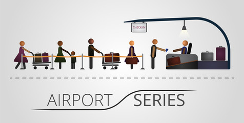 The people stand in a queue for the flight registration desk. Illustration includes icon of people and registration desk construction. Airport series