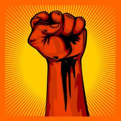 Hand Up Proletarian Revolution - Fist of revolution. Human hand up.