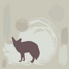 Fennec fox silhouette on grunge background. vector