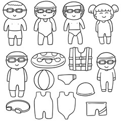 vector set of swimmer and swimming accessories