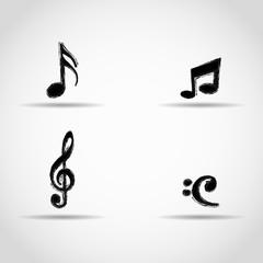 treble clef, notes, bass clef. grunge design