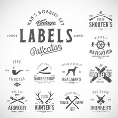 Set of Vintage Icons, Labels or Logo Templates With Retro Typography for Mens Hobbies Such as Yachting, Hunting, Arms, Dog Breeding, Car Repair, etc.