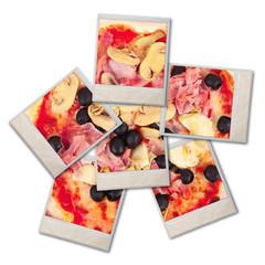 pizza italiana frazionata in 6 polaroid