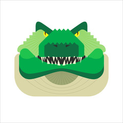 Vector stylized geometric crocodile illustration isolated on white background. Flat style alligator head icon. Angry, aggressive wild croc. For web, app, logo design.
