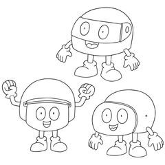 vector set of helmet cartoon