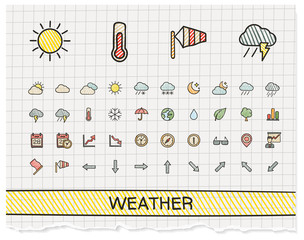Weather hand drawing line icons. Vector doodle pictogram set. color pen sketch sign illustration on paper with hatch symbols, storm, rain, cold, temperature, parasol, umbrella, climate, night.
