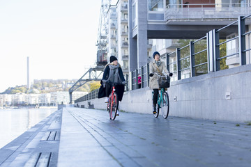 Women riding bicycles on promenade