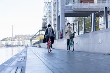 Women riding bicycles on promenade