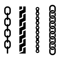 Vector black metal chain parts icons set on white background